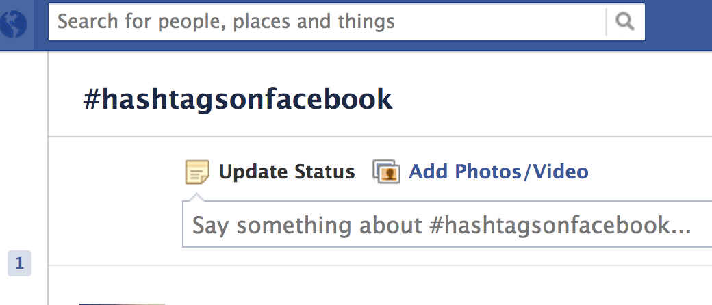 Say something about - Hashtags on Facebook