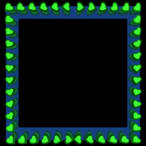 Green Love Hearts Reflection on Blue Square Border - Valentine Border Clipart