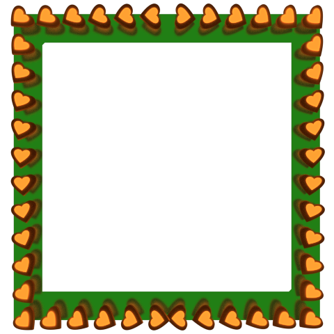 Orange Love Hearts Reflection on Green Square Border - Valentine Border Clipart
