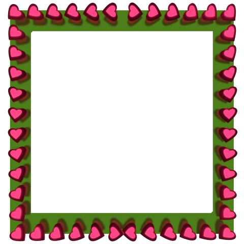 Pink Love Hearts Reflection on Green Square Border - Valentine Border Clip art