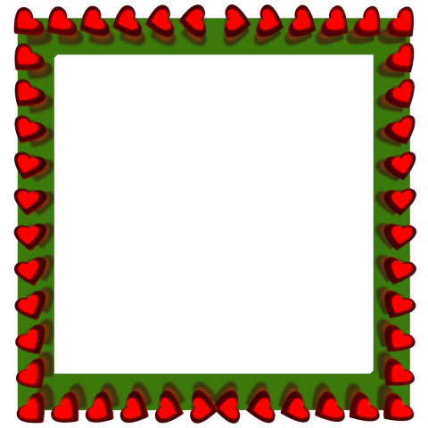 ... Hearts Reflection on Square Green Border - Valentine Border Clip art