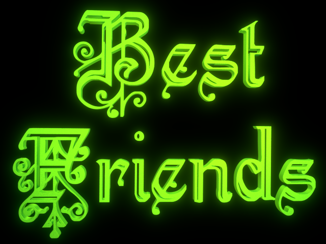 Best Friends - 3d clip-art for Friendship Day - Glowing Green