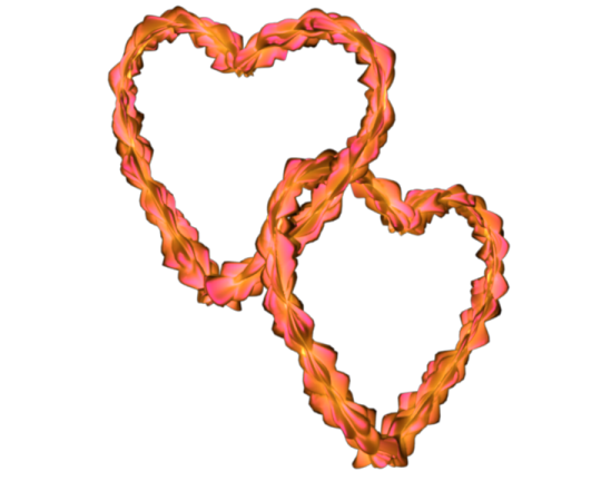Pink-Yellow Flowery Entangled Love Hearts Valentine Clip-art