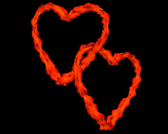 Red Orange Flowery Entangled Love Hearts - Valentine clip-art
