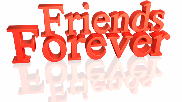 3d Render Friends Forever Red color with reflection isolated on white background