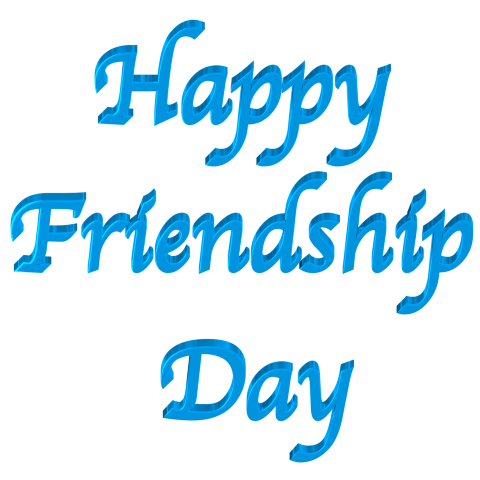 Happy Friendship Day - Shiny Bright Blue 3d Text Clip art with Transparent Backg