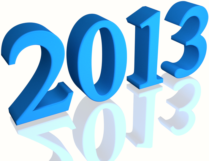 Shiny Blue 2013 3d text (with Reflection) Clip-art