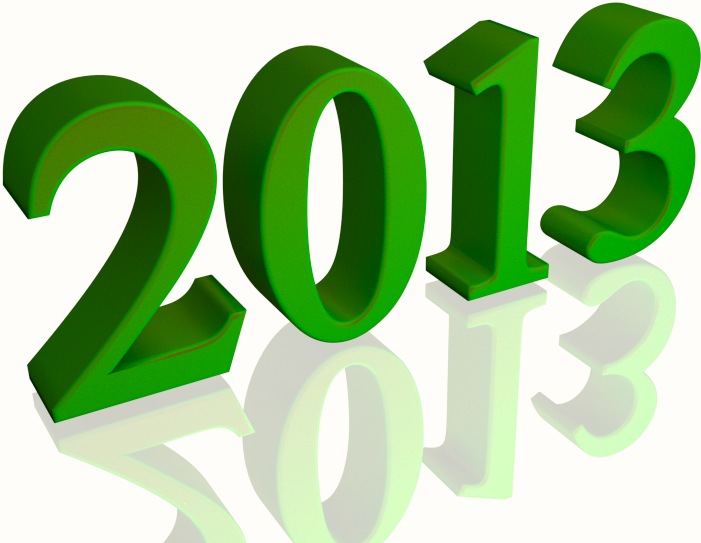 Shiny green 2013 3d text with reflection clip art