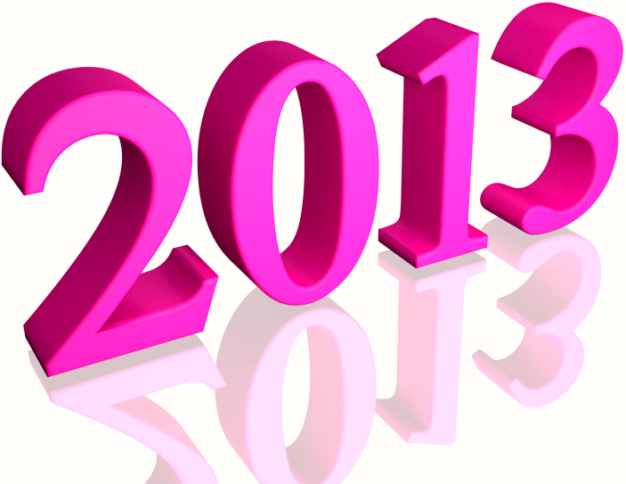 Shiny Pink 2013 3d text (with Reflection) Clip-art