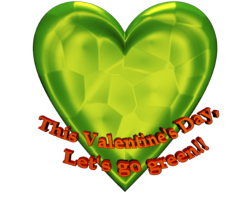Green Heart Clip Art With glowing Texture with 3d Text Lets go green