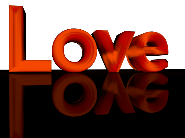 Red 3d Text Love with Reflection - Transparent Background Clip art