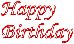 Outlined Birthday Wishes 3d Text Clip-art in Red color.
