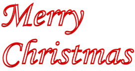 Outlined Merry Christmas 3d Text Clip-art in Red color.