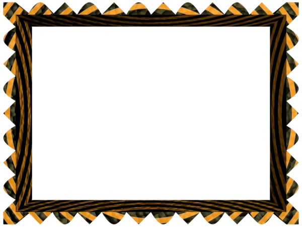 Fancy Loop Cut Border in Black Orange color, Rectangular perfect for Powerpoint