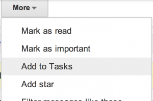 Screenshot from Gmail - add Mail to Tasks
