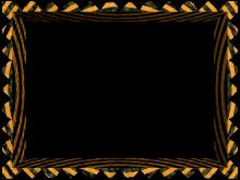Fancy Loop Cut Border in Black Orange color, Rectangular perfect for Powerpoint