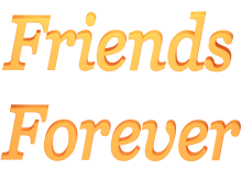 Friends Forever 3d Render in Yellow Orange Blend with Transparent Background
