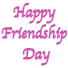 Shiny Pink 3d text clip-art Happy Friendship Day with Transparent Back