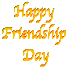 Shiny Yellow orange 3d text clip-art text Happy Friendship Day with Transparent
