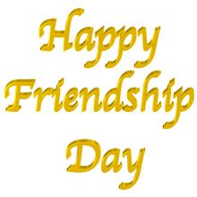 Shiny Yellow 3d text clip-art Happy Friendship Day with Transparent Background