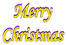Shadow Bordered Merry Christmas 3d Text Clip-art in Yellow Purple color.